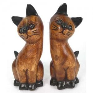 Acacia Wood Cats - Set/2 Long Neck 20cm