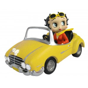 Betty Boop In Yellow Sports Car