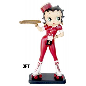 Merveilleux Large Betty Boop Rollerskate Waitress With Tray   3ft