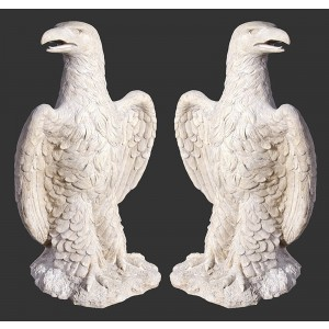 Guardian Eagles Resin Statues Roman Stone Finish - Set of 2