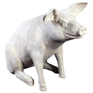 Sitting Pig Roman Stone Finish - Large