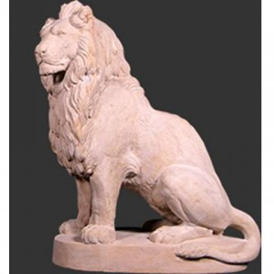 Left Facing Sitting Lion - Roman Stone Finish
