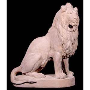 Right Facing Sitting Lion - Roman Stone Finish