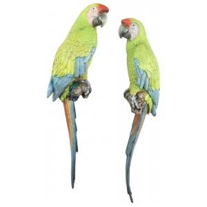 Pair Buffon's Macaw Parrots Wall Art 70cm