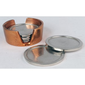 Aluminium Set of 6 Coasters Brass/Nickel Finish