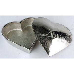 Aluminium Love Heart Shaped Trinket Box Nickel Finish 13.5cm