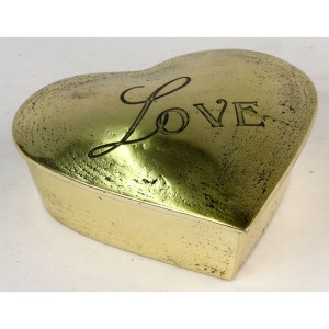Aluminium Love Heart Shaped Trinket Box Brass Finish 13.5cm