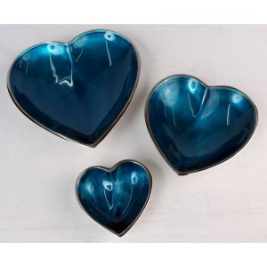 Aluminium Blue Enamel Heart Dishes Bowls Set/3