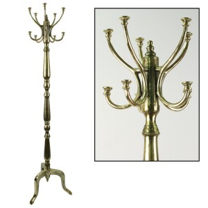 Aluminium Coat Stand Brass Industrial Finish 180cm