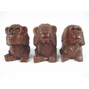 Suar Wood Monkeys Hear No Evil, See No Evil, Speak No Evil