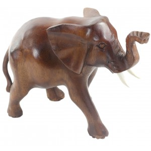 Suar Wood Elephant Walking 15cm