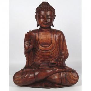 Suar Wood Meditating Thai Buddha Statue 40cm