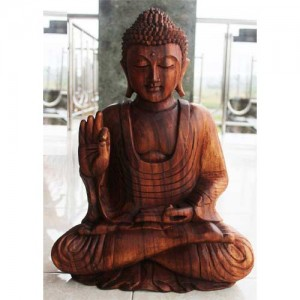 Suar Wood Meditating Thai Buddha Statue 50cm