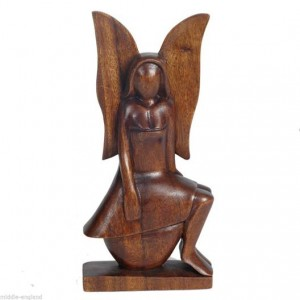 Suar Wood Angel Sitting 30cm