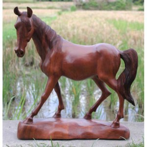Suar Wood Horse Statue 38cm
