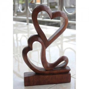 Suar Wood Abstract Hearts Entwined 30cm