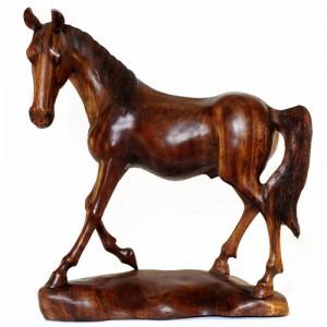 Suar Wood Horse Statue 60cm