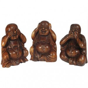 Suar Wood Happy Buddha sculptures See,Hear,Speak No Evil - Set/3