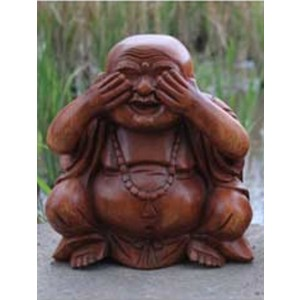 Suar Wood Happy Buddha sculpture See No Evil