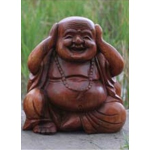 Suar Wood Happy Buddha sculpture Hear No Evil