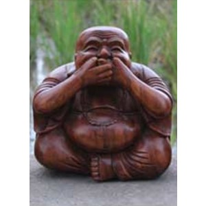 Suar Wood Happy Buddha sculpture Speak No Evil