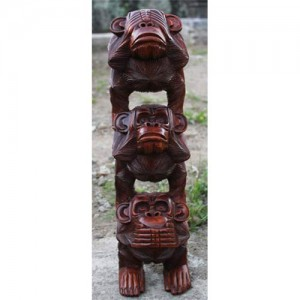 Suar Wood Monkey Stack 'Hear No Evil, See No Evil, Speak No Evi