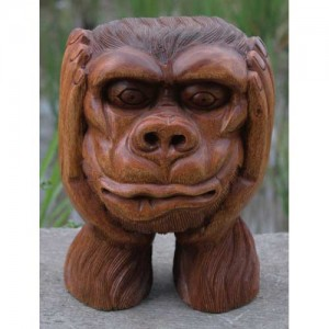 Suar Wood Monkey Head Sculpture