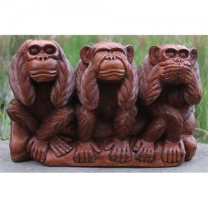 Suar Wood Monkey Trio 'Hear No Evil, See No Evil, Speak No Evil'