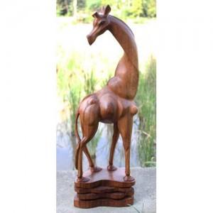 Suar Wood Giraffe Sculpture 80cm