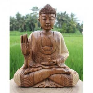 Suar Wood Meditating Thai Buddha Statue Natural Finish - 40cm