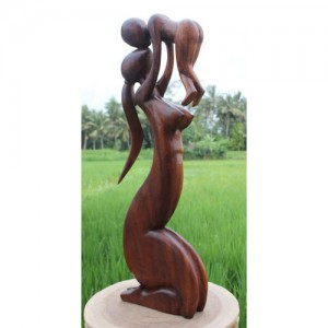 Suar Wood Abstract Lady With Baby 80cm