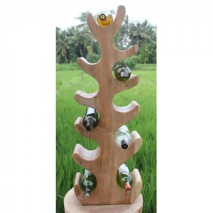 Suar Wood Abstract Tree Wine Rack Natural Finish (11 Bottles)