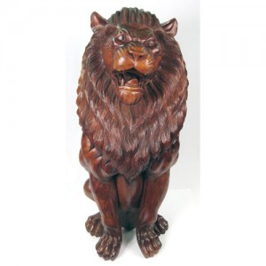 Suar Wood Lion Sculpture 105cm