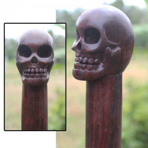 Sono Wood Skull Handle Walking Stick