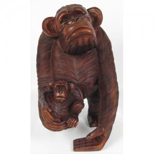Suar Wood Monkey with 1 Baby