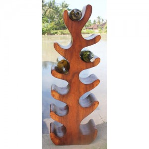 Suar Wood Abstract Tree Wine Rack (11 Bottles)