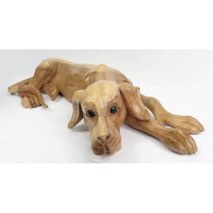 Suar Wood Lying Dog Natural Finish - 80cm
