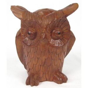 Suar Wood Owl - 22cm
