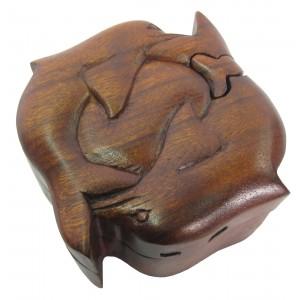 Suar Wood Dolphin Puzzle Box