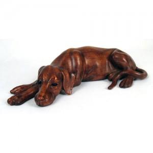 Suar Wood Lying Dog - 40cm