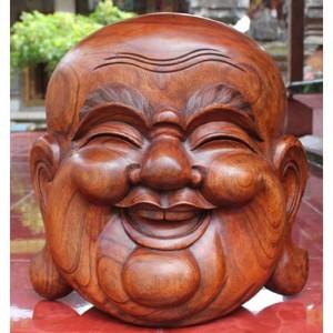 Suar Wood Happy Buddha Head Wall Hanging 40cm