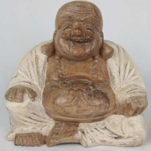 Suar Wood Happy Buddha White Robe - 20cm