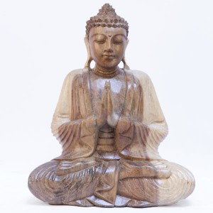Suar Wood Meditating Praying Thai Buddha Natural Finish - 30cm