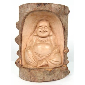 Crocodile Wood Happy Buddha Trunk Carving - 20cm
