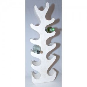 Suar Wood Abstract Tree Wine Rack White Finish (11 Bottles)