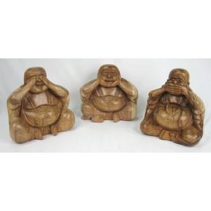 Suar Wood Happy Buddhas See,Hear,Speak No Evil Set/3 -Natural