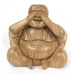 Suar Wood Happy Buddha sculpture See No Evil - Natural
