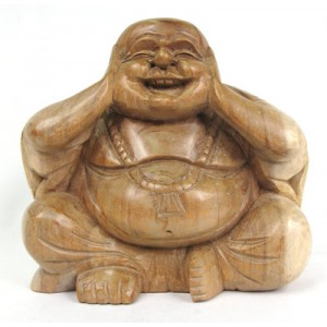 Suar Wood Happy Buddha sculpture Hear No Evil - Natural