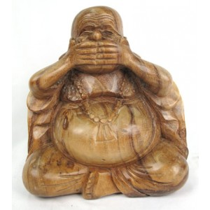 Suar Wood Happy Buddha sculpture Speak No Evil - Natural