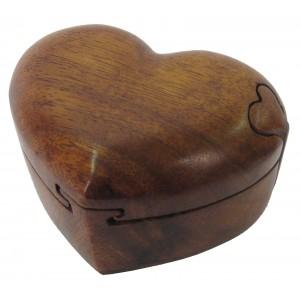 Suar Wood Heart Puzzle Box